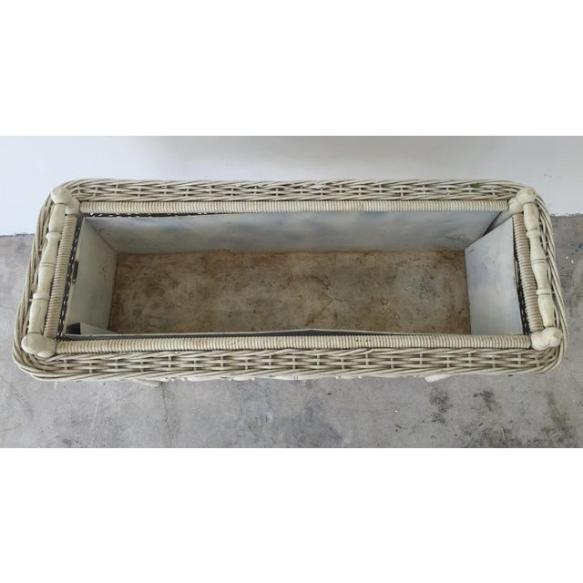 Antique White-Painted Wicker & Wood Planter - Image 5 of 9