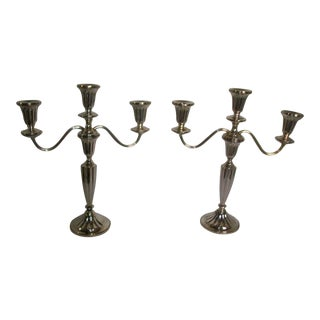 Mid-Century Mueck- Carey Weighted Sterling Silver Convertible Candelabras - A Pair