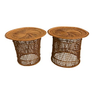 Pair of Round Rattan Side Tables For Sale