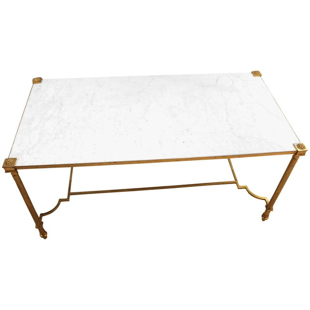 Gold Maison Jansen Style Brass & White Marble Top Coffee Table For Sale - Image 8 of 8
