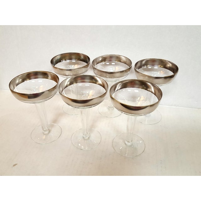Mid-Century Modern Dorothy Thorpe Mid-Century Platinum Rimmed Champagne Glasses Set of Six For Sale - Image 3 of 4