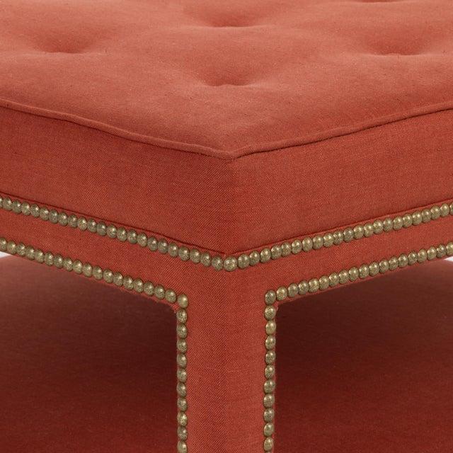 Casa Cosima Kensington Ottoman in Paprika Linen For Sale - Image 4 of 6