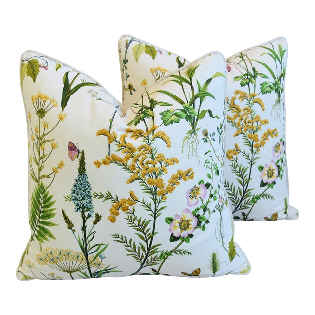 "Wildflower Botanical Cotton & Linen Feather/Down Pillows 24"" Square - Pair For Sale"