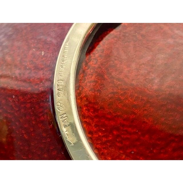 Metal 1960s Sato Cloisonné Pigeons Blood & Silver Lotus Ginbari Vase Bowl For Sale - Image 7 of 9