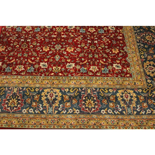 Textile Shabby Chic Pak-Persian Mirna Red/Teal Wool Rug - 9'0 X 12'0 For Sale - Image 7 of 8