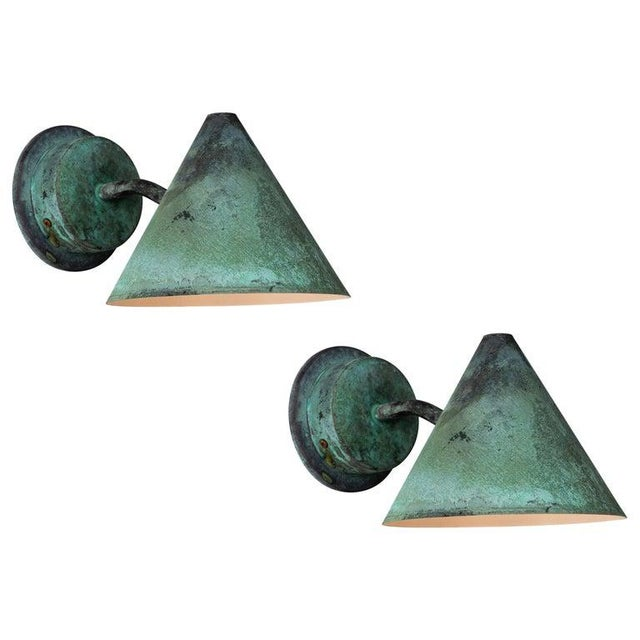Hans-Agne Jakobsson 'Mini-Tratten' Patinated Copper Outdoor Sconces - a Pair For Sale - Image 13 of 13