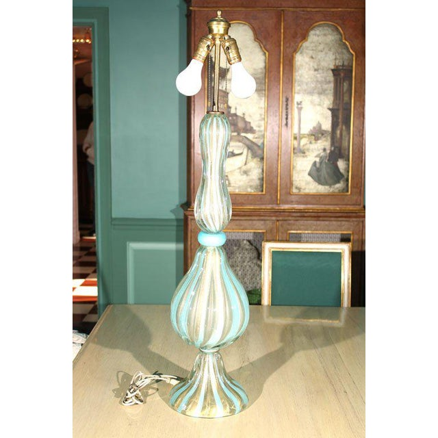 Aqua 1950s Vintage Venetian Murano Glass Lamp For Sale - Image 8 of 31