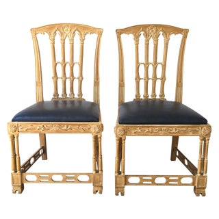 20th C. Chippendale Style Carved Chairs - A Pair
