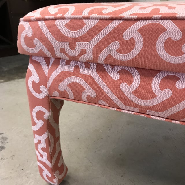 Coral Ming Style Bench in Scalamandre Fabric For Sale - Image 7 of 12