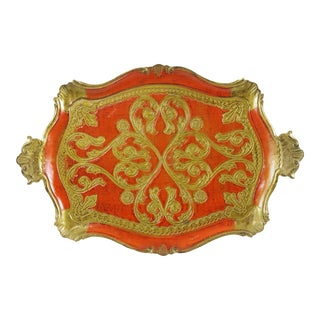 Vintage Italian Florentine Serving Tray in Orange and Gold For Sale