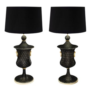 Barovier & Toso Hand Blown Glass Table Lamps - a Pair For Sale