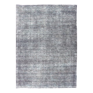 Checkered Modern Distressed Rug in Shades of Green, Charcoal and White For Sale
