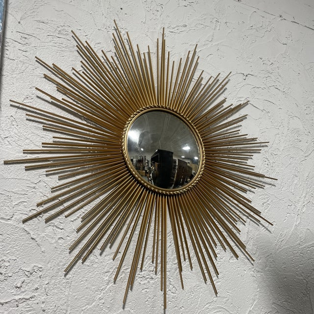 Metal Mid-Century Chaty Vallauris-Style Gilt Metal Sunburst Wall Mirror For Sale - Image 7 of 9