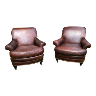 1990s Vintage Hancock and Moore Brown Leather Club Chairs- a Pair For Sale