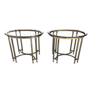 Italian Glass and Brass Tables - a Pair For Sale