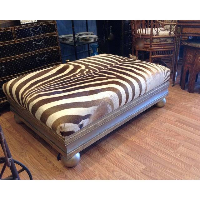 Enormous Zebra Hide Ottoman For Sale - Image 4 of 13