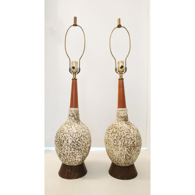 Vintage Textured Orb Table Lamps - A Pair - Image 2 of 4
