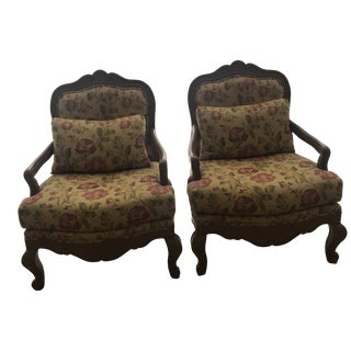 Vintage Floral and Wood Accent Louis XV Style Chairs- A Pair For Sale