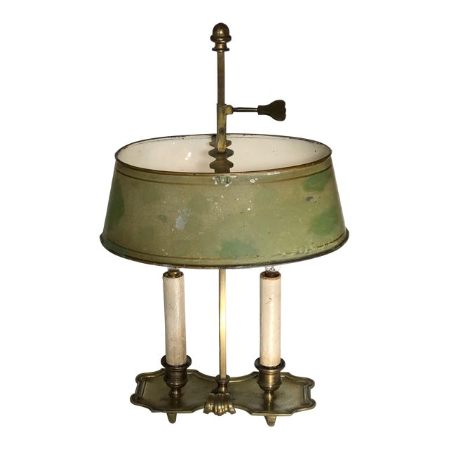 French Brass and Tole Bouillotte Candlestick Lamp For Sale