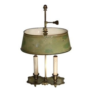Italian Brass and Tole Bouillotte Candlestick Lamp For Sale
