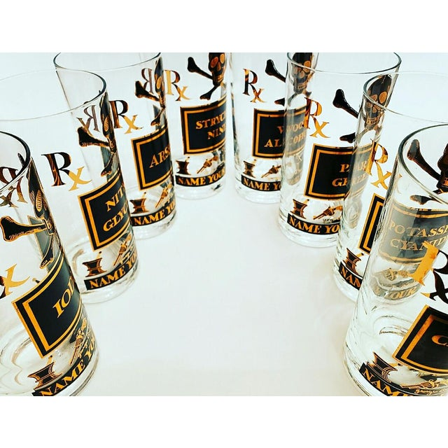 Hollywood Regency Georges Briard Poison Glasses, Name Your Poison, MIX Your Poison and Blend Your Poison Set - 19 Pieces For Sale - Image 3 of 10