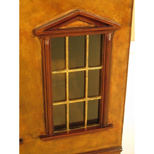 Maitland Smith Leather Wrapped House Form China Cabinet For Sale - Image 11 of 13