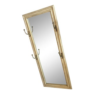 Faux Bamboo Wood Mirror With Brass Hooks For Sale