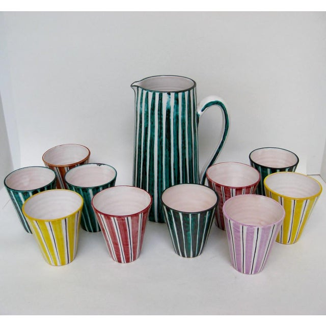 Italian Ceramic Pitcher With Cups - 11 Pieces - Image 3 of 9
