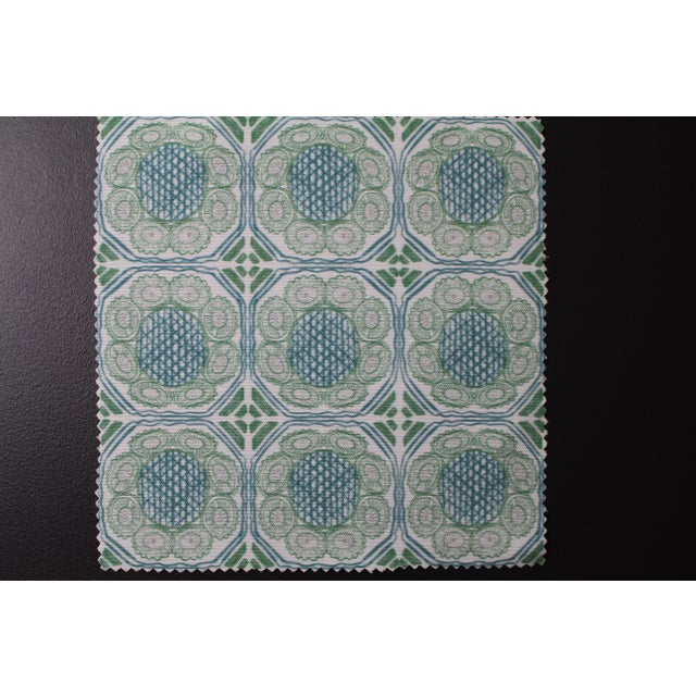 Transitional Hajarie Palm Basket Fabric, Sample, Teal in Linen & Cotton For Sale - Image 3 of 3