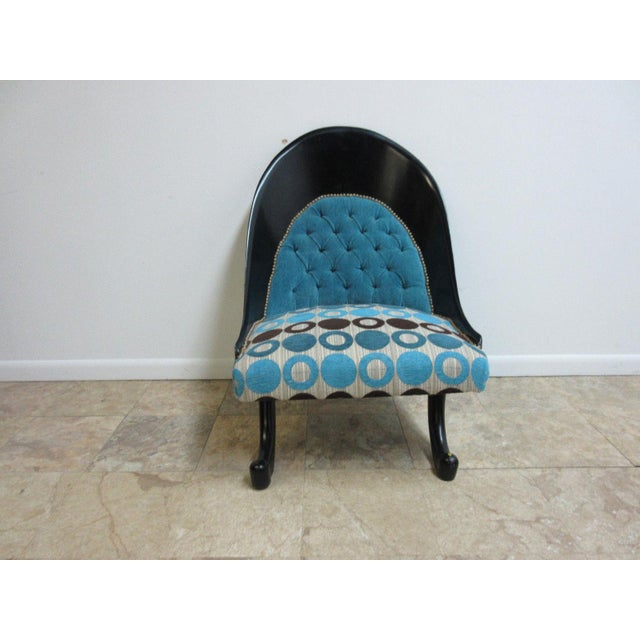 Hollywood Regency Style Modern Scoop Back Fireside Lounge Club Chair For Sale - Image 9 of 10