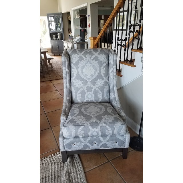 2010s Lexington Barclay Butera Wing Back Chair & Ottoman For Sale - Image 5 of 10