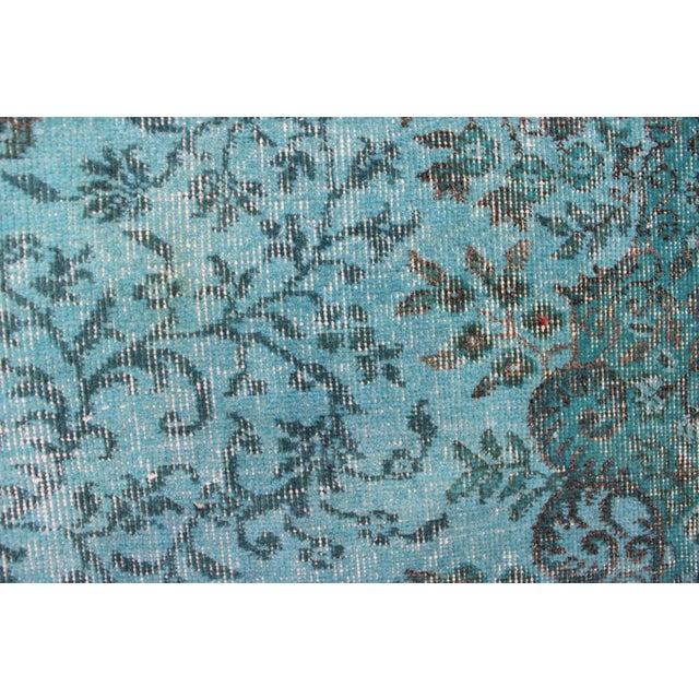 "Turkish Overdyed Turquoise Area Rug - 5'7"" X 9'1"" - Image 5 of 8"