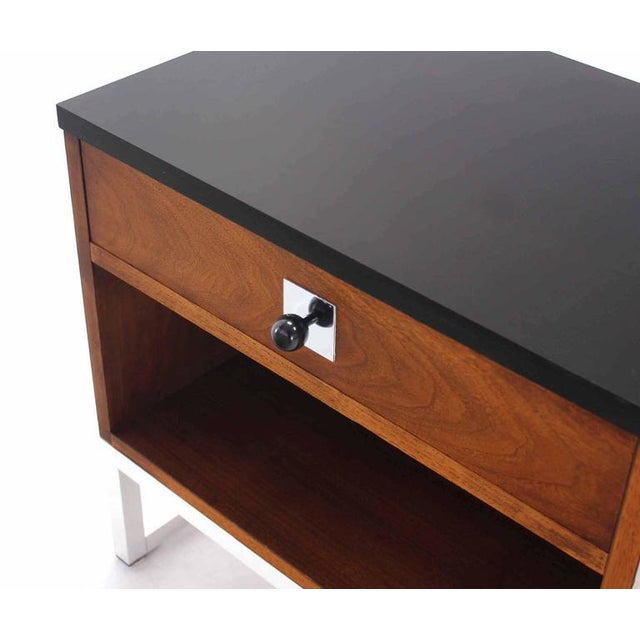 Pair of Walnut & Chrome Nightstands For Sale In New York - Image 6 of 9