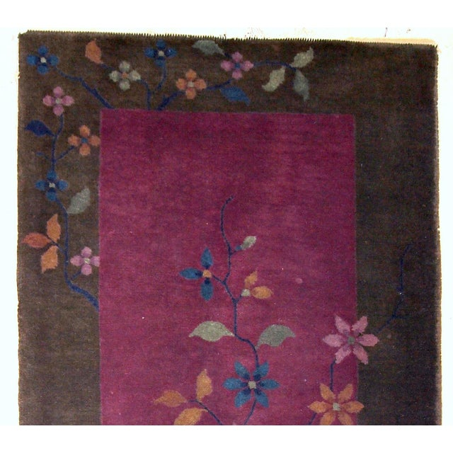 Art Deco 1920s Handmade Antique Art Deco Chinese Rug 1.10' X 3.10' For Sale - Image 3 of 10