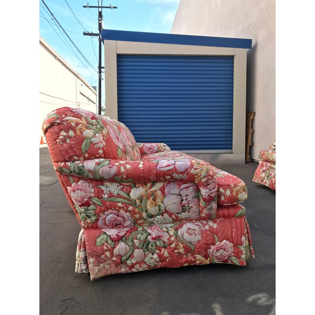Red Vintage Floral Morris James Sofas - A Pair For Sale - Image 8 of 11