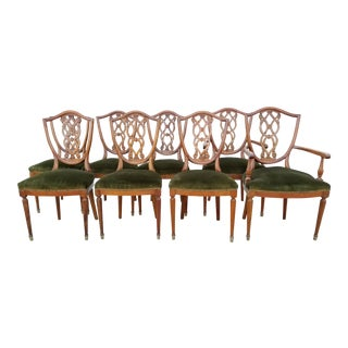 Antique Edwardian Hepplewhite Mahogany Dining Chairs - Set of 8