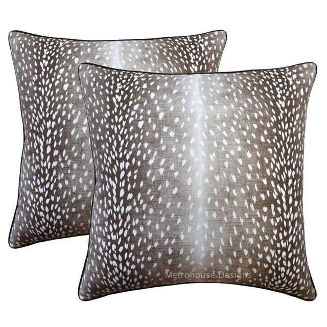 Contemporary Umber Down Feather Designer Pillows - Set of 2 For Sale - Image 3 of 3