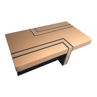 1980s Postmodern Laminate With Brass Inlay Coffee Table For Sale