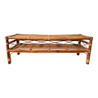 20th Century Japanese Bamboo and Rattan Floor Storage/Coffee Table For Sale