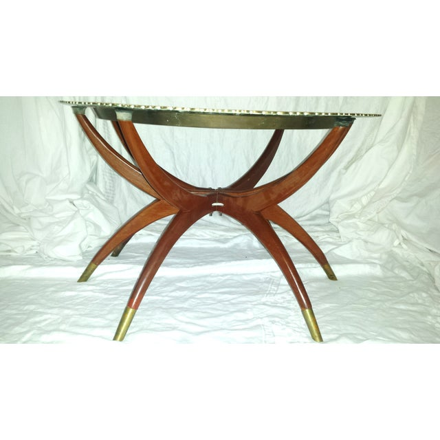 Round Chinese Brass Tray Table, MCM Teak Legs - Image 4 of 10