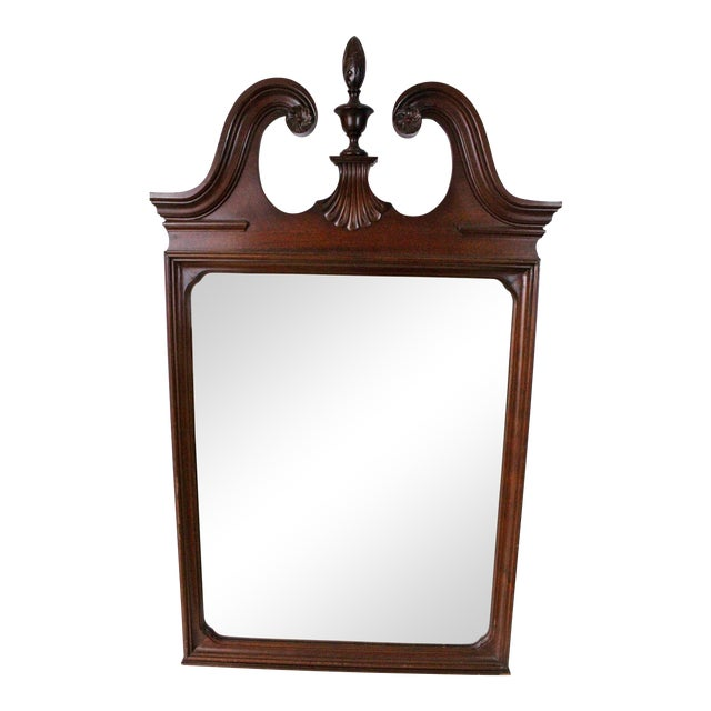 1920's Antique Scroll Top Shell & Acorn Finial Mirror For Sale