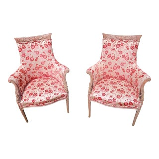 Wonderful Pair of Vintage French Velvet Pink Chairs Unique 1940's For Sale