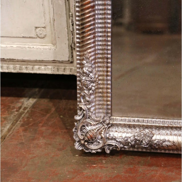 Wood Mid-19th Century French Louis XV Hand Carved Silvered Wall Mirror For Sale - Image 7 of 11