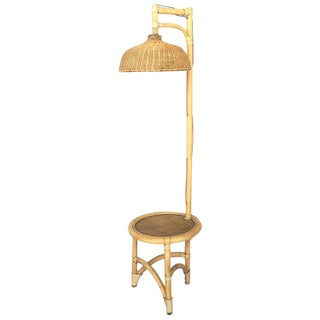 Mid Century Bamboo & Wicker Floor Lamp With Table For Sale