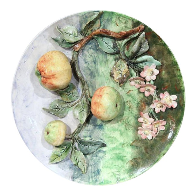 Late 19th Century French Barbotine Wall Platter For Sale