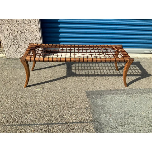 Modern mid century style ROBSJOHN GIBBINGS STYLE BENCH. The bench is made of alder and is 54'' long 18'' tall and wide....