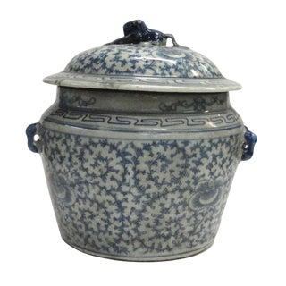 Chinese Handmade Medium Blue & White Porcelain Ginger Jar For Sale