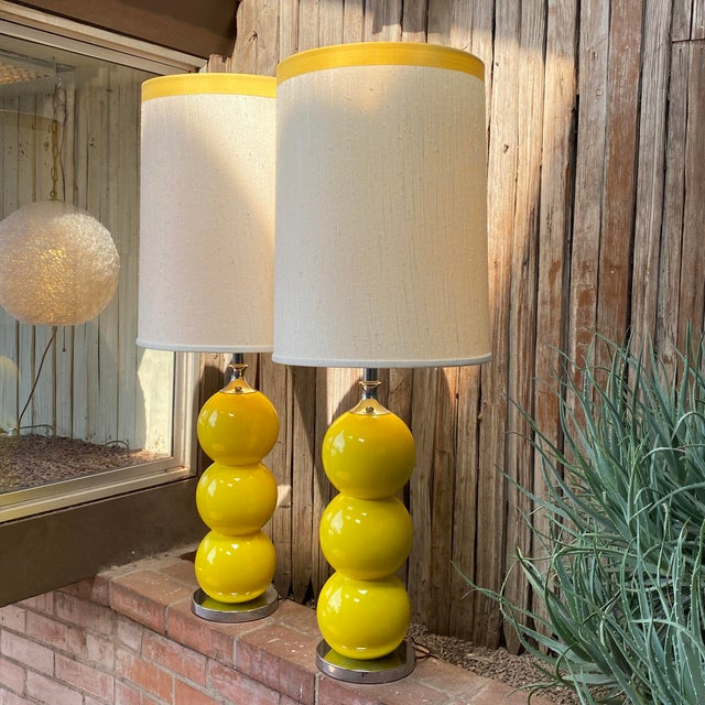 Midcentury Modern Design by Sonneman Maker is Kovacs Yellow Stacked Ball Ceramic Lamp Pair With Original Shades, 1960s....