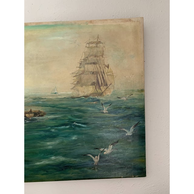 Rustic Vintage Sailing Ship Painting Oil on Canvas Signed by Artist J H Johnson For Sale - Image 4 of 13