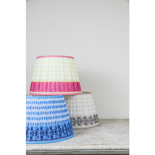 """Pleated Printed Shade with Border 16"""" Turquoise and Navy For Sale - Image 4 of 7"""
